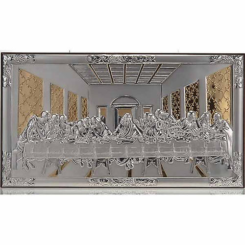 Bassorilievo bilaminato oro argento Ultima cena Leonardo 1