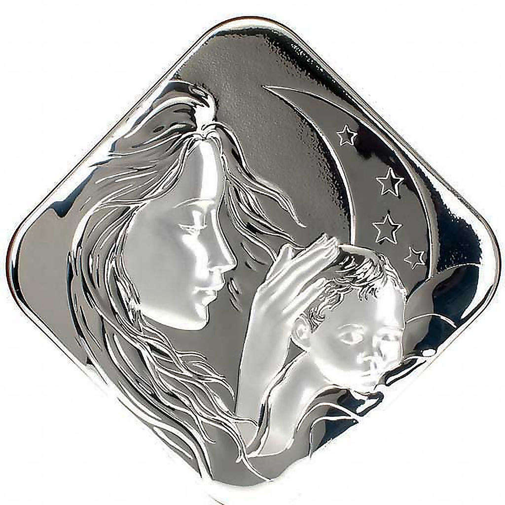 Silver square Bas Relief Mary with Jesus 4