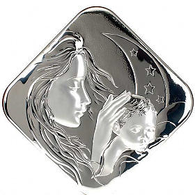 Silver square Bas Relief Mary with Jesus s1