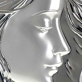 Silver square Bas Relief Mary with Jesus s4