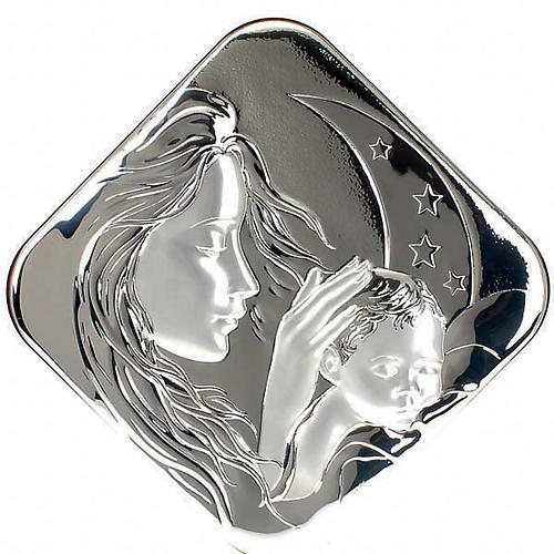Silver square Bas Relief Mary with Jesus 1