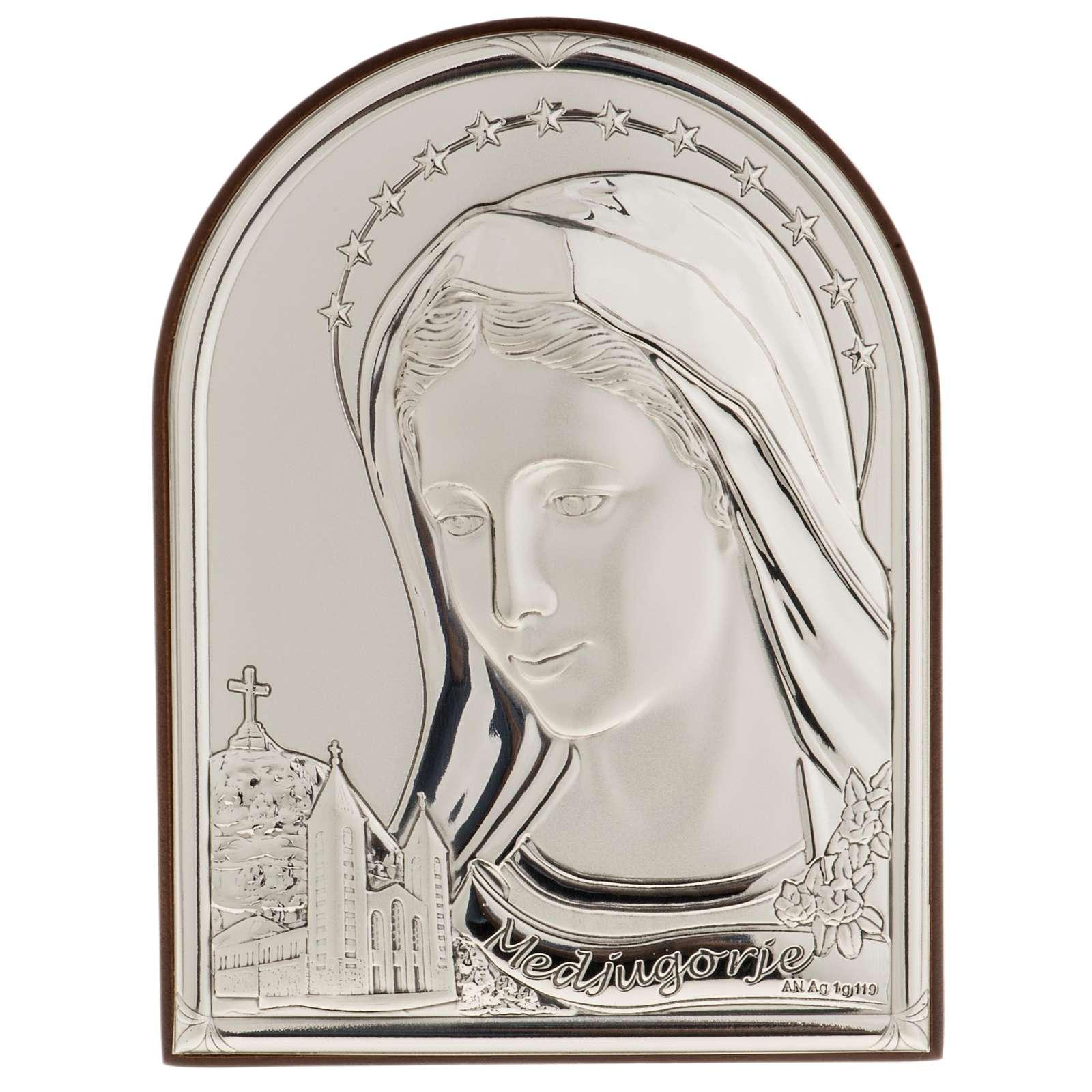 Bassorilievo bilaminato argento Madonna Medjugorje 4