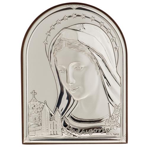 Bassorilievo bilaminato argento Madonna Medjugorje 1