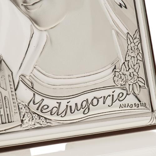 Bassorilievo bilaminato argento Madonna Medjugorje 3