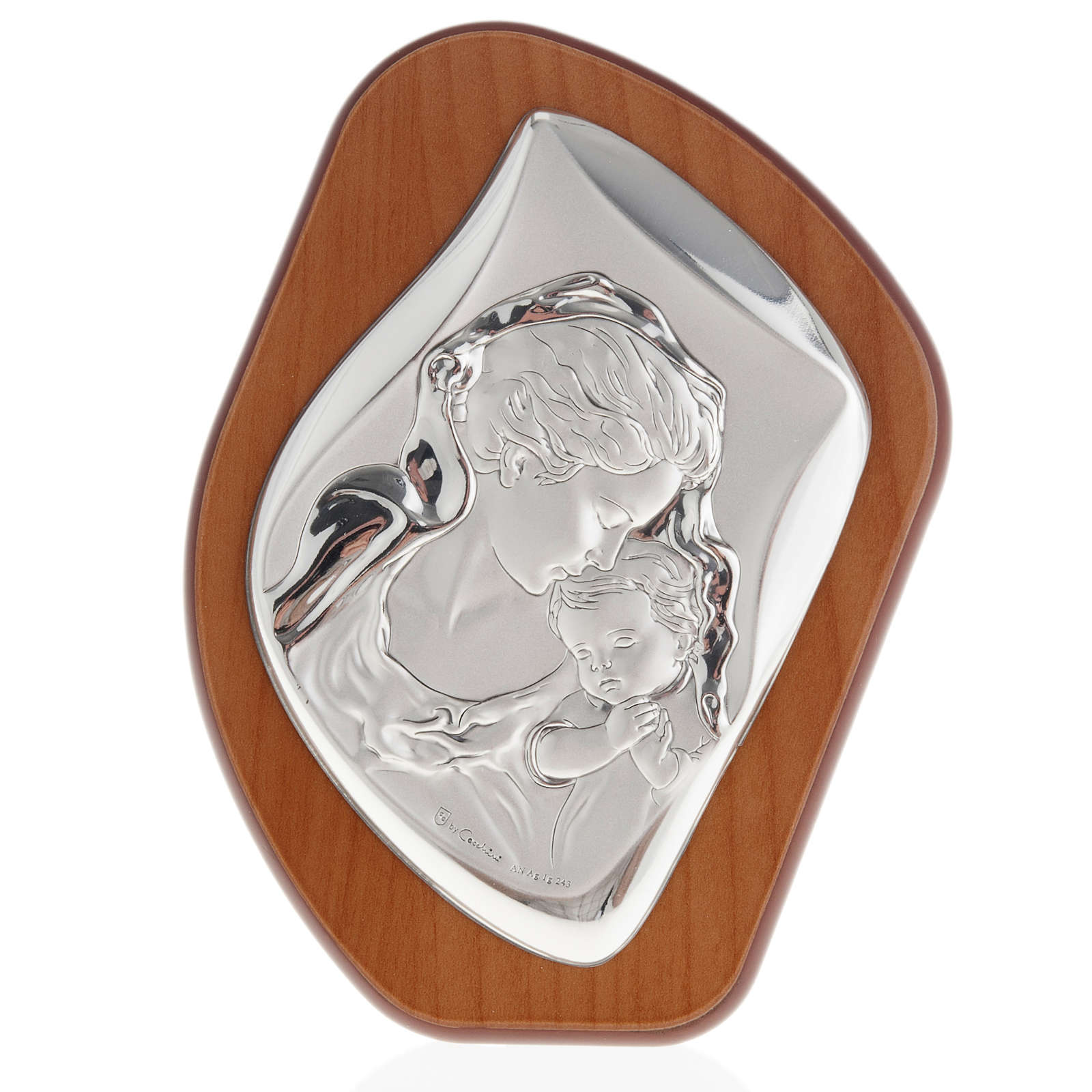 Silver Bas Relief- Mother Mary with veil and Baby Jesus 4