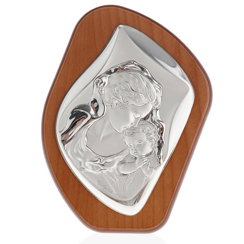 Silver Bas Relief- Mother Mary with veil and Baby Jesus 1