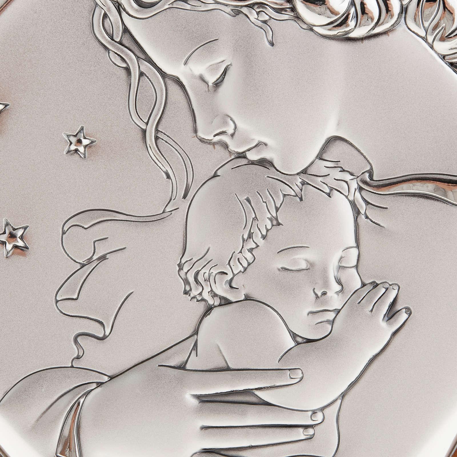 Matka z dzieciątkiem i gwiazdami płaskorzeźba srebro 4