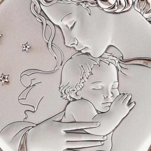 Matka z dzieciątkiem i gwiazdami płaskorzeźba srebro 2