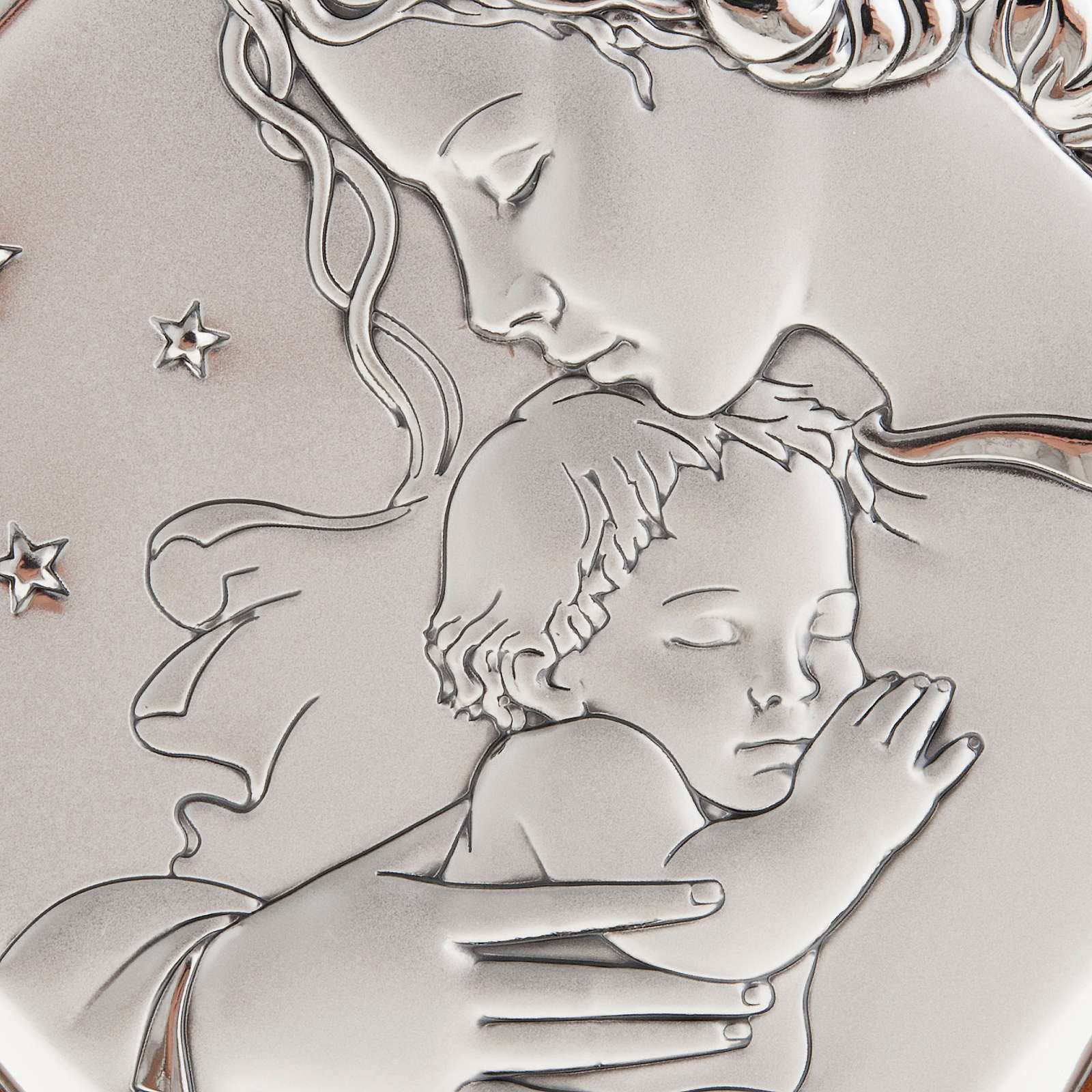Silver Bas Relief - Mother with baby in a starry night 4