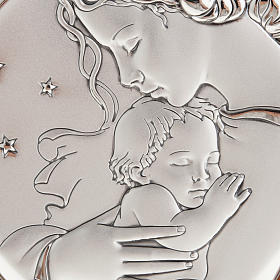 Silver Bas Relief - Mother with baby in a starry night s2