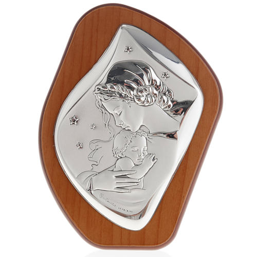 Silver Bas Relief - Mother with baby in a starry night 1