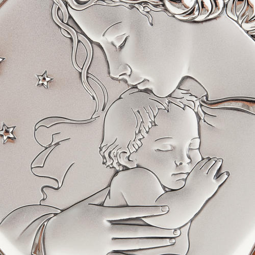 Silver Bas Relief - Mother with baby in a starry night 2