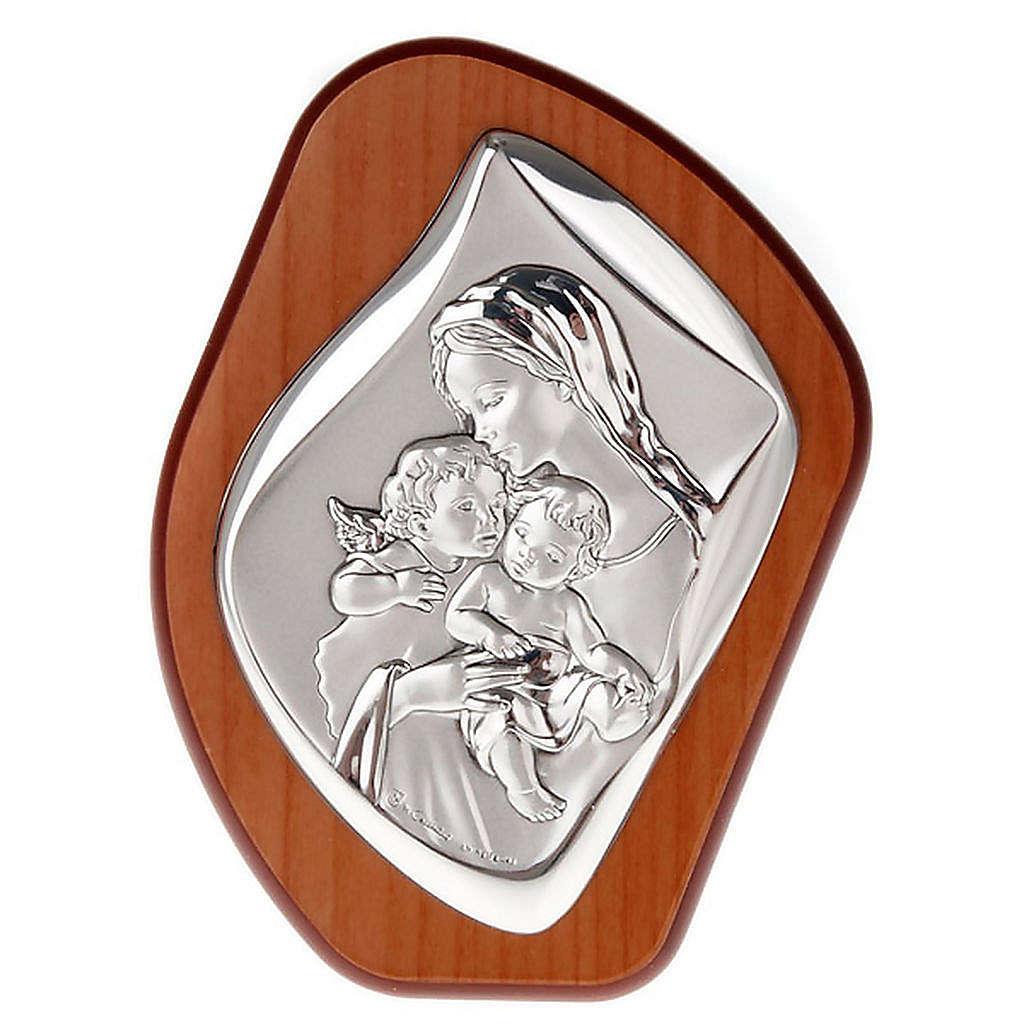 Bajorrelieve plata Virgen con niño y angelito 4
