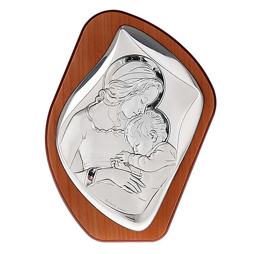 Silver Bas Relief - Mother mary with Baby Jesus 1