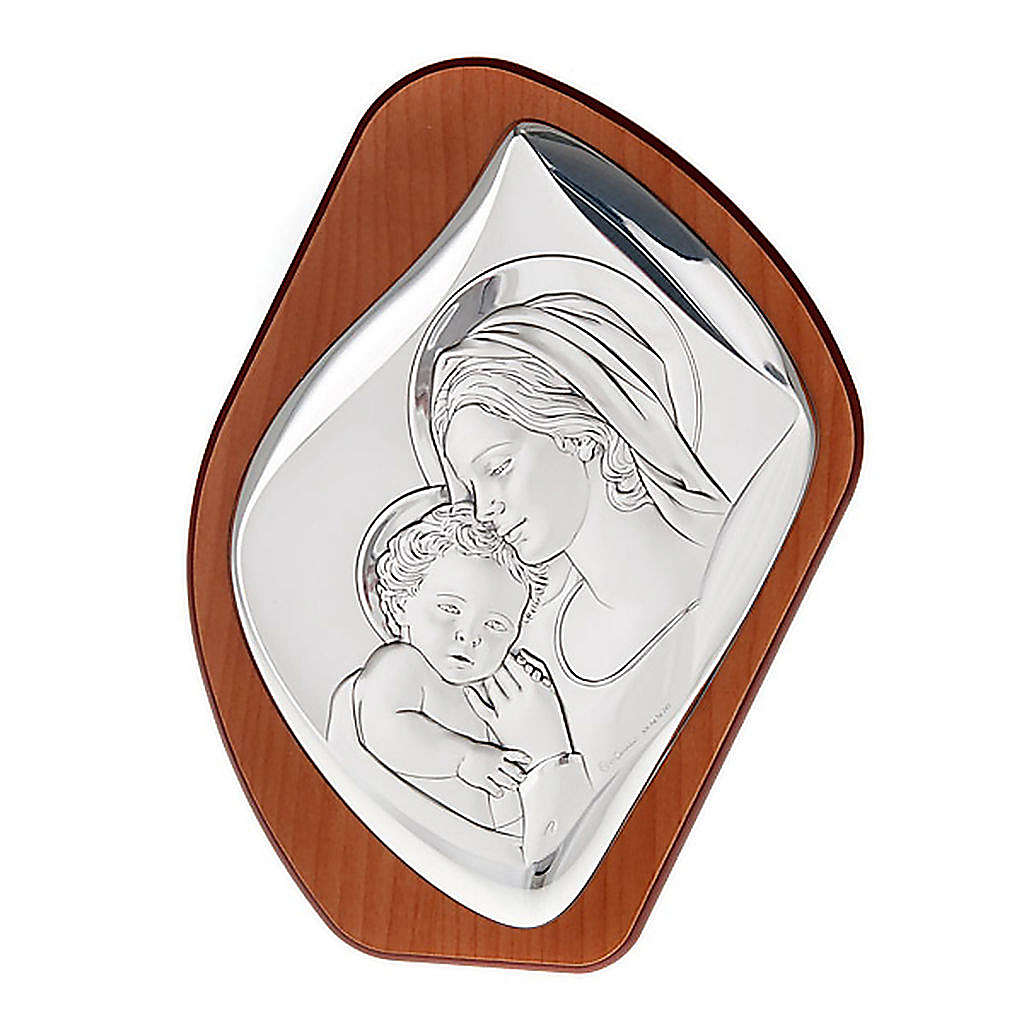 Matka z Dzieciątkiem płaskorzeźba srebro 4