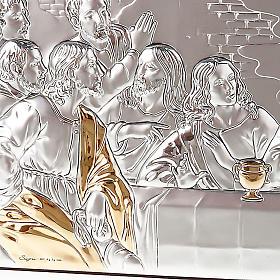 Leonardo's Last Supper bas relief gold/silver s4
