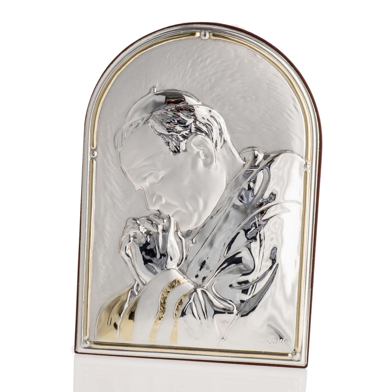 Bajorrelieve plata beato Juan Pablo II arco piedra 4