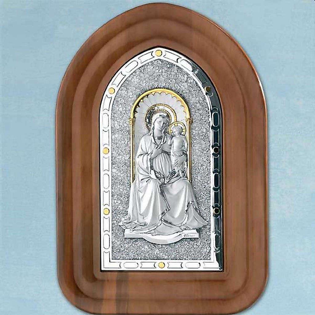 Bassorilievo argento 925 oro Madonna con bambino cornice legno 4