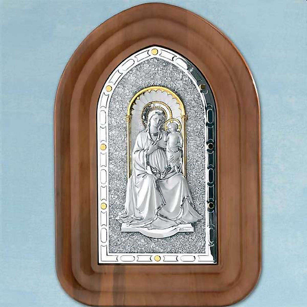 Bas-relief sterling silver, gold Our Lady and baby, wooden frame 4
