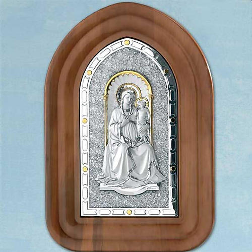 Bas-relief sterling silver, gold Our Lady and baby, wooden frame 1