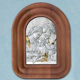 Bassorilievo argento 925 oro Sacra Famiglia cornice legno s1