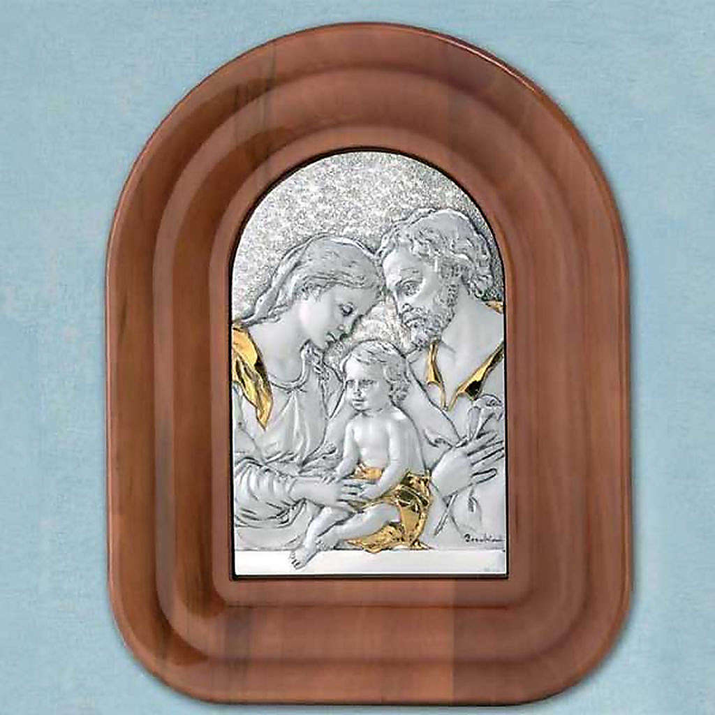 Bas-relief gilded sterling silver, Holy Family, wooden frame 4