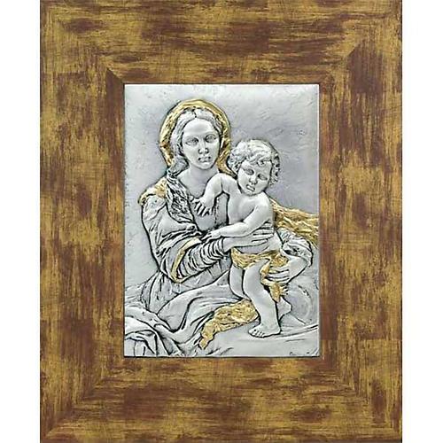 Bajorrelieve de plata y oro con Virgen y niño, marco de madera 1