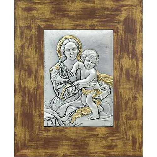 Bas-relief silver gold Our Lady and baby, wooden frame 1