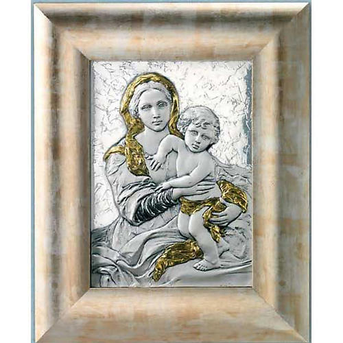 Bas-relief 925 silver gold Our Lady and baby, wooden frame 1