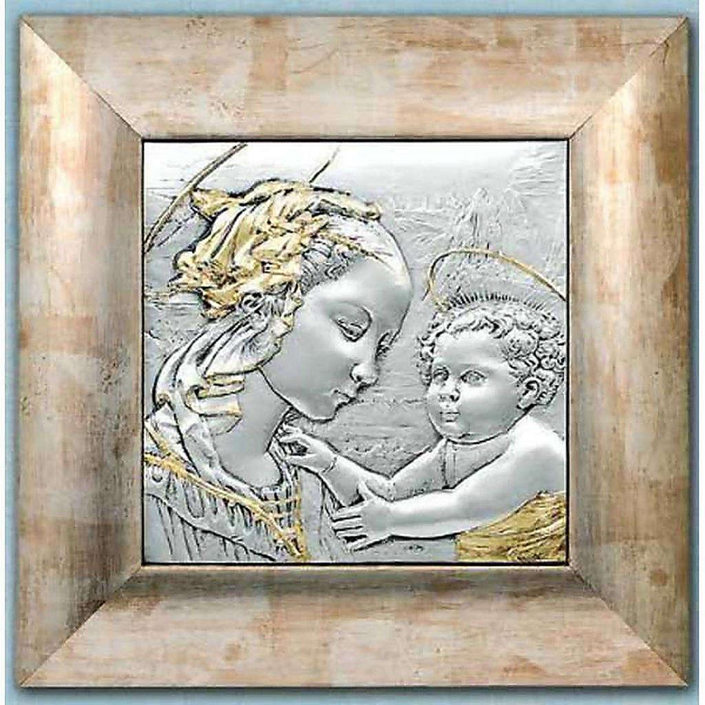 Bajorrelieve de plata y oro Virgen y niño con aureola 4