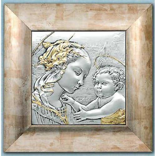 Bajorrelieve de plata y oro Virgen y niño con aureola 1