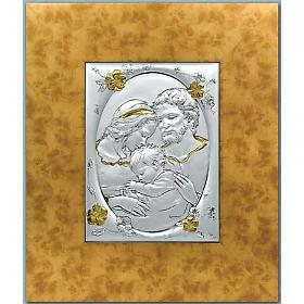 Bassorilievo Sacra Famiglia argento 925 oro cornice legno s1