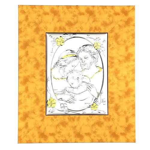 Bassorilievo Sacra Famiglia argento 925 oro cornice legno 1
