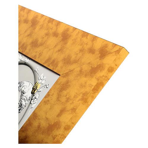 Bassorilievo Sacra Famiglia argento 925 oro cornice legno 3