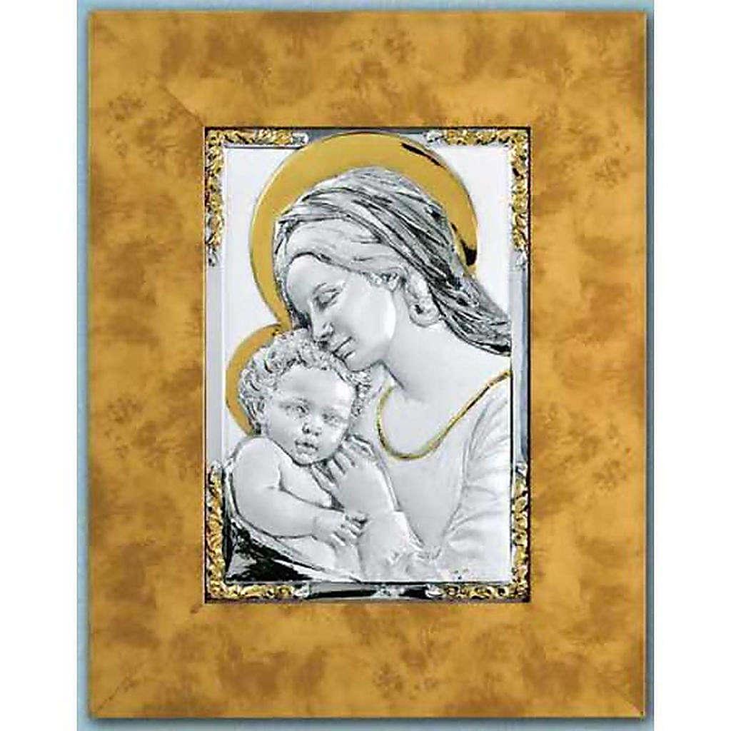 Bassorilievo Madonna bambino argento 925 oro su legno 4