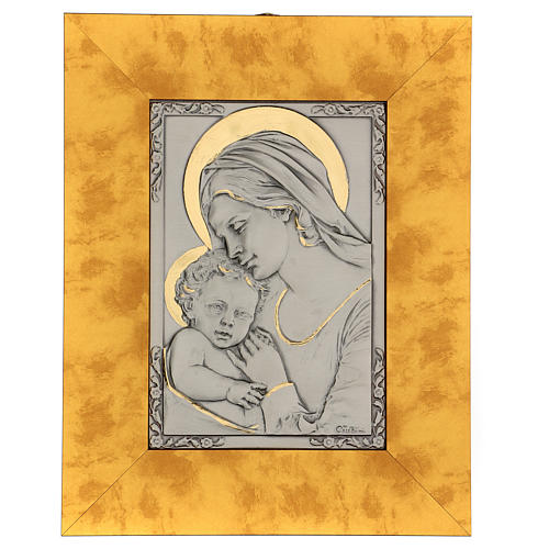 Bassorilievo Madonna bambino argento 925 oro su legno 1