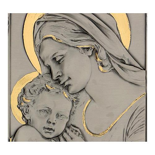 Bassorilievo Madonna bambino argento 925 oro su legno 2