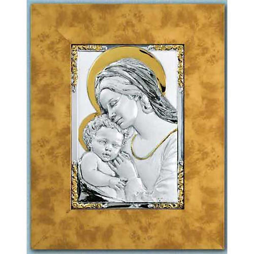 Bas-relief, Our Lady and baby in sterling silver and gold 1