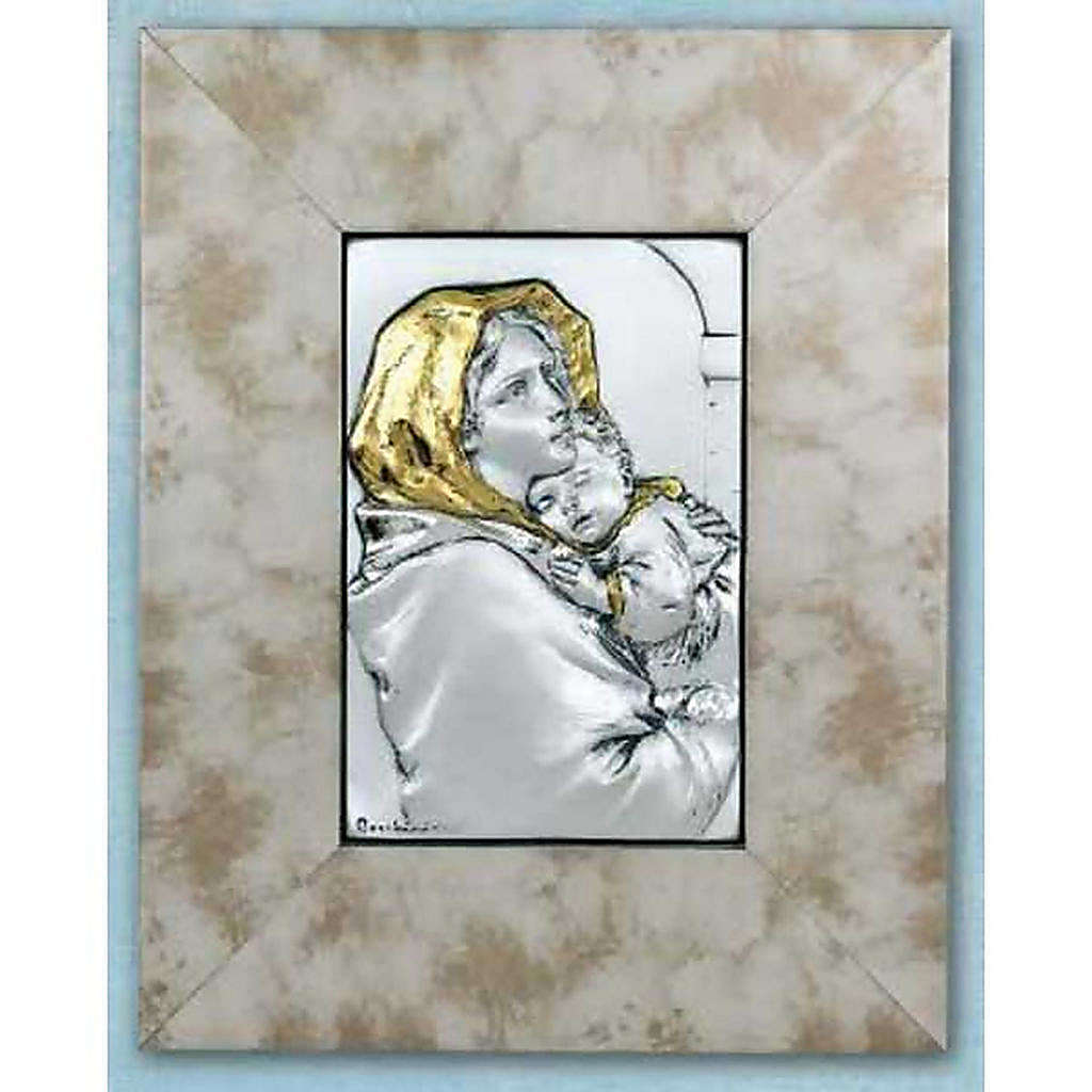 Bas-relief, Ferruzzi's Madonna silver and gold on wood 4