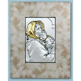 Bas-relief, Ferruzzi's Madonna silver and gold on wood s1