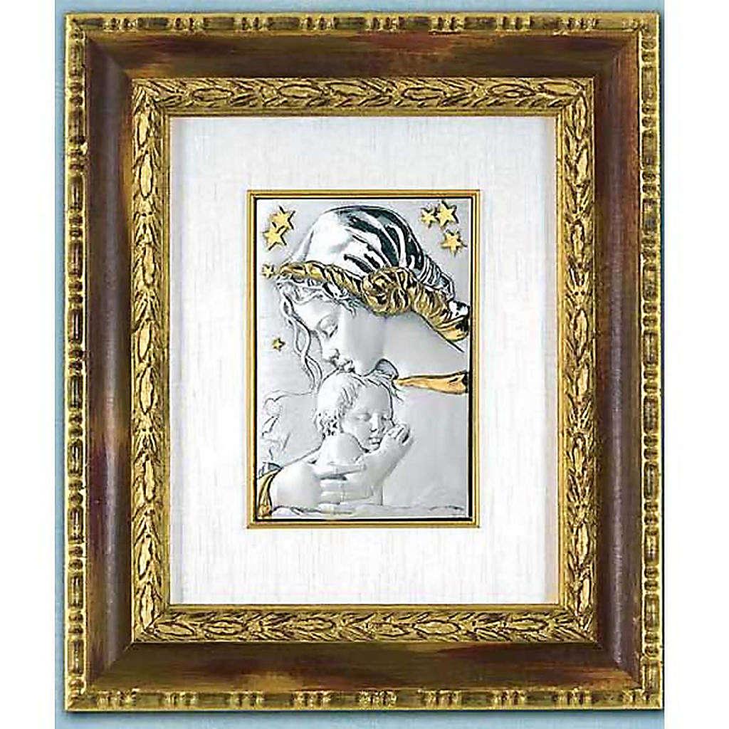 Bassorilievo argento oro Madonna con bimbo e stelle 4