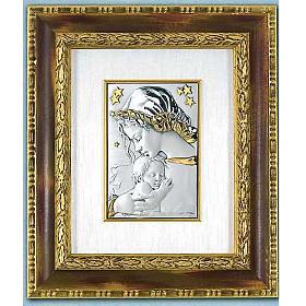Bassorilievo argento oro Madonna con bimbo e stelle s1