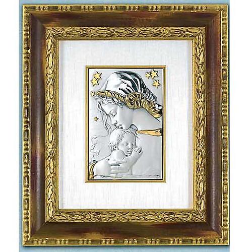Bassorilievo argento oro Madonna con bimbo e stelle 1