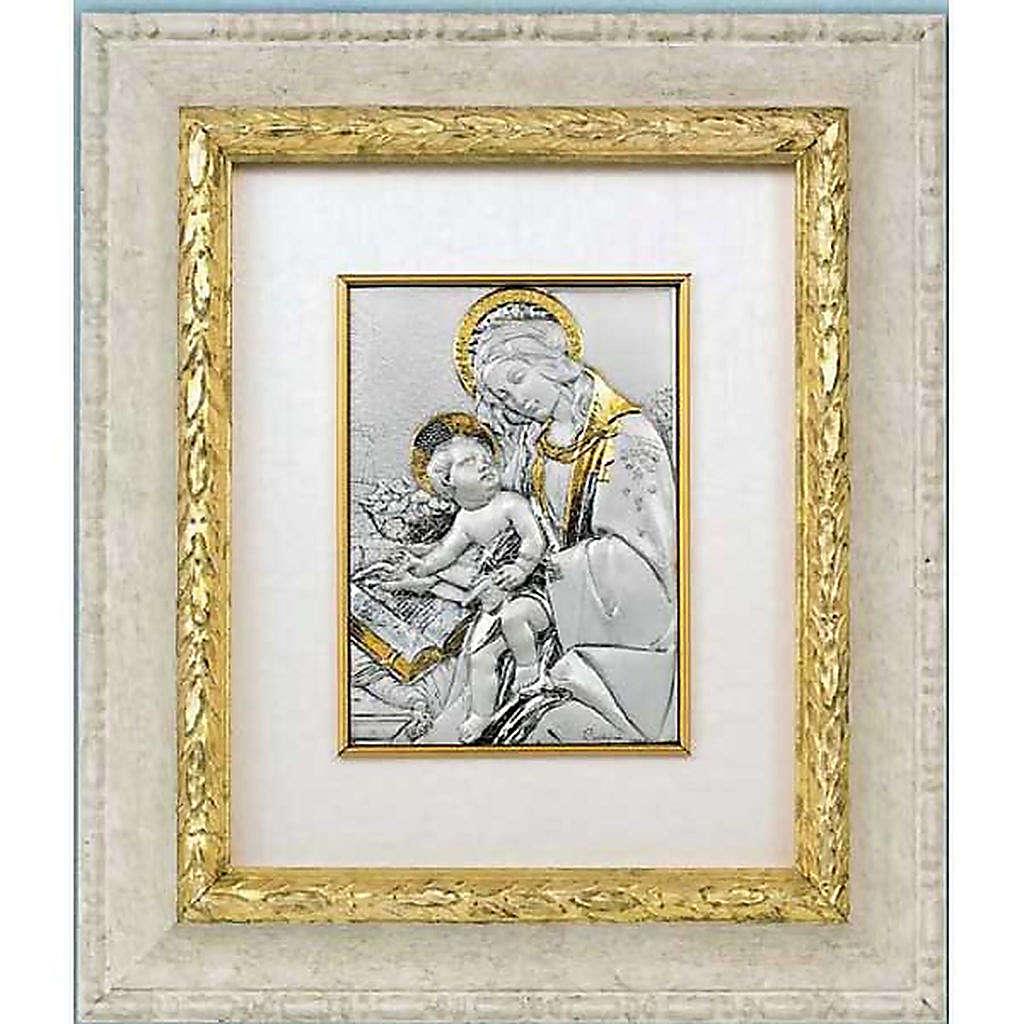 Bassorilievo argento oro Madonna con bimbo e libro 4