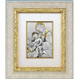 Bassorilievo argento oro Madonna con bimbo e libro s1