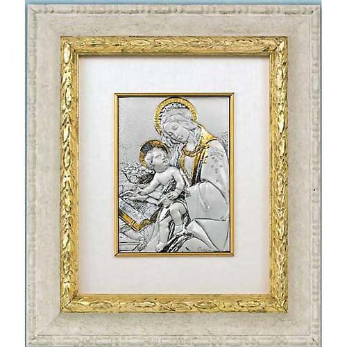 Bassorilievo argento oro Madonna con bimbo e libro 1
