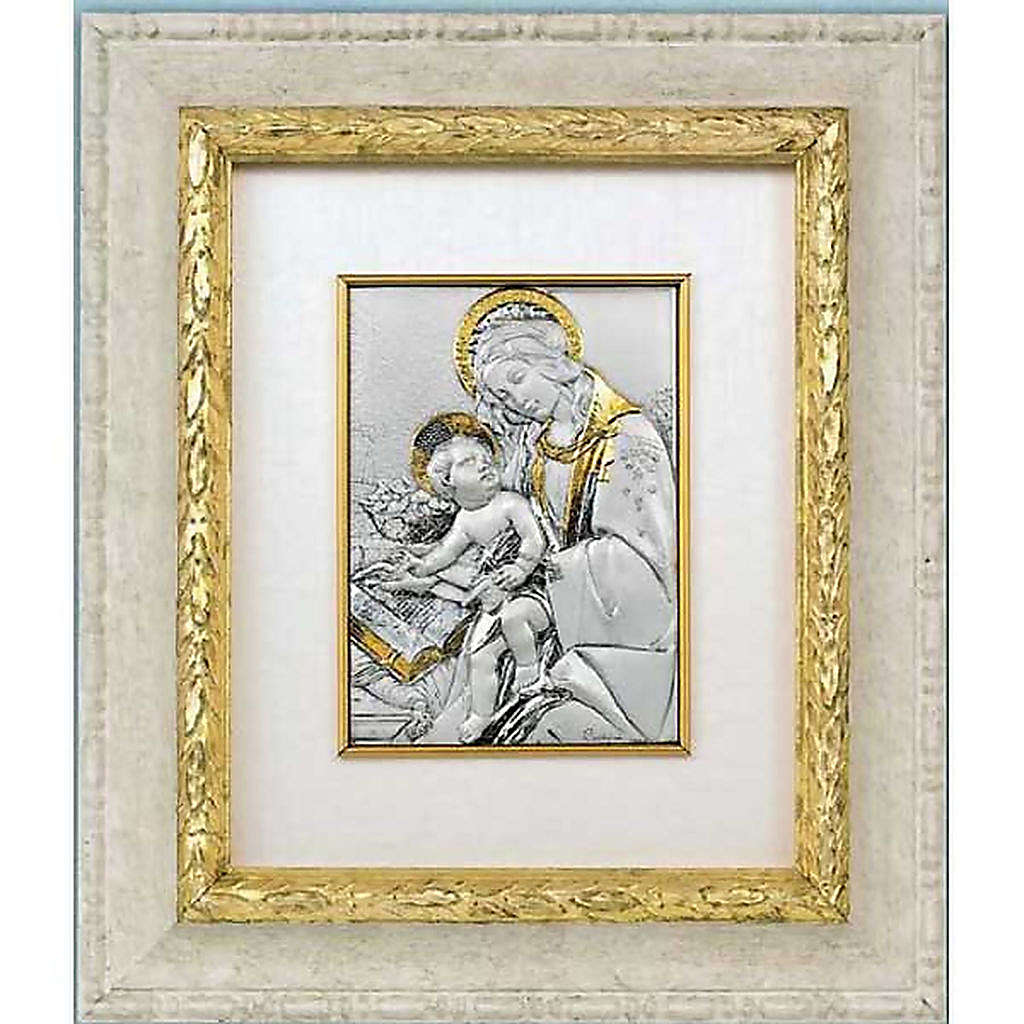 Bas-relief, gold silver, Our Lady and baby with book 4