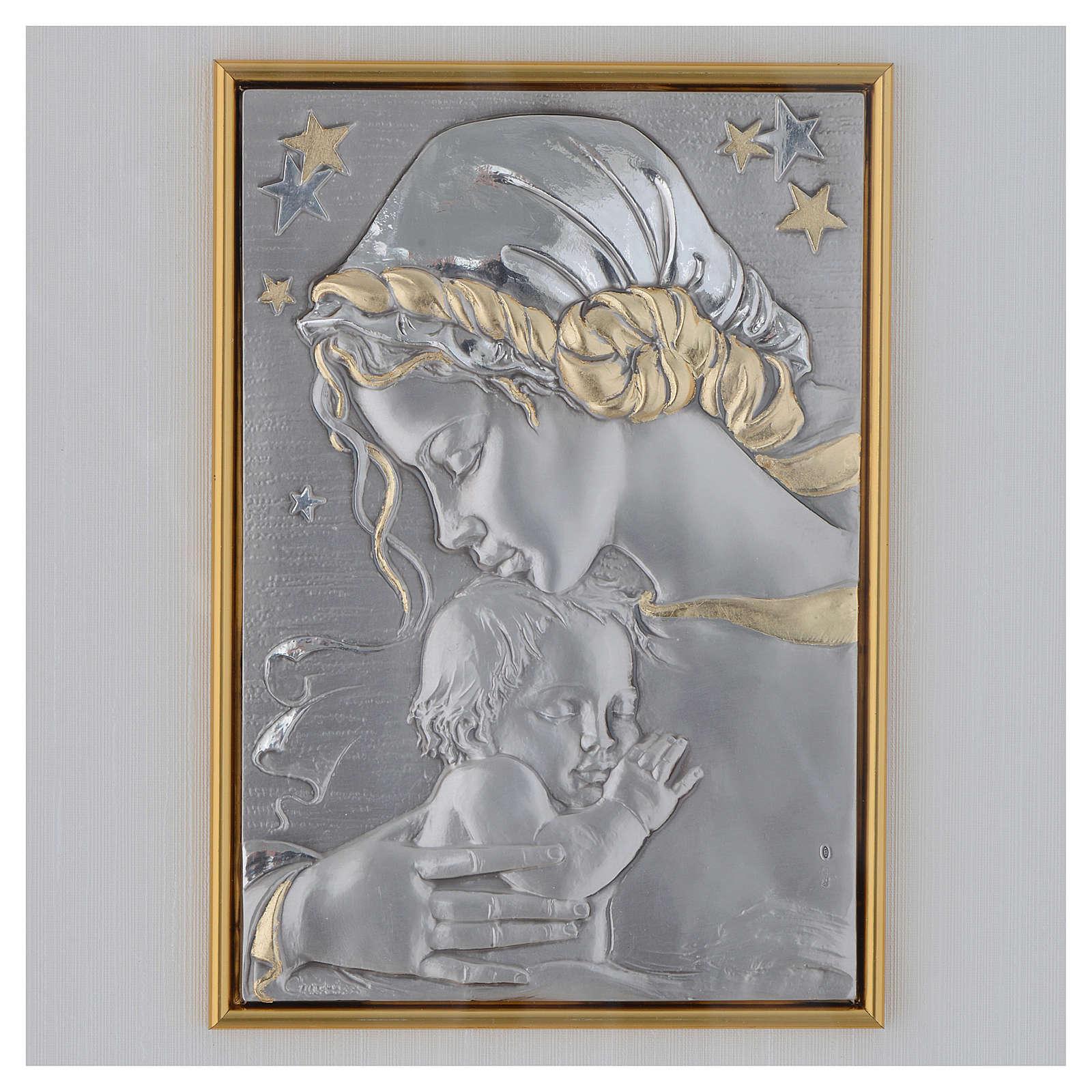 Bassorilievo Madonna con bimbo e stelle argento oro 4