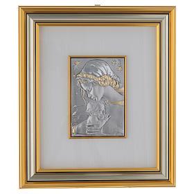 Bassorilievo Madonna con bimbo e stelle argento oro s1