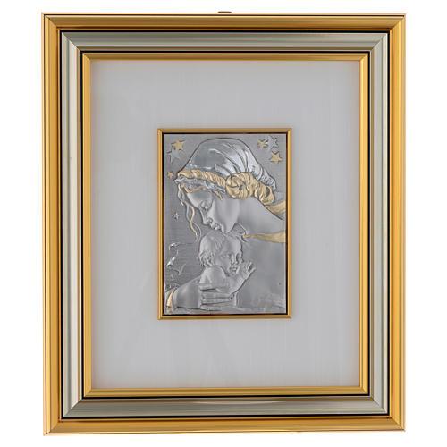 Bassorilievo Madonna con bimbo e stelle argento oro 1